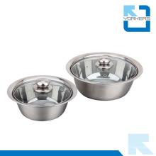 Pot en acier inoxydable multi-usage en Europe avec 2 couvercles