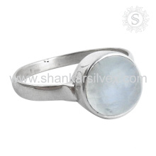 Nuevo anillo de plata brillante de la piedra lunar del arco iris venta al por mayor 925 joyería de plata esterlina de la joyería de plata hecha a mano