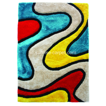Polyester mix Shaggy Rug 3D design dengan Multi Color