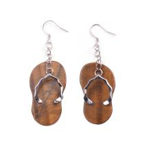 Populaire une paire plaqué argent naturel Tiger Eye Slipper Pierre boucle d'oreille pour les cadeaux