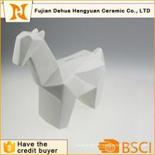 Застекленная Белая Керамическая Форма Лошади Монеты Банк для Настольного Подарок