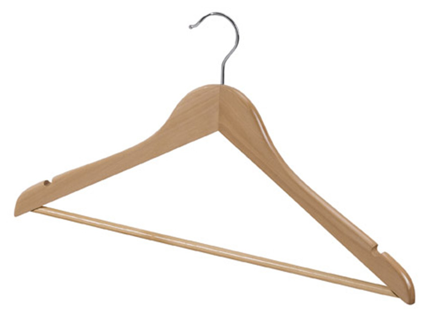 Non Slip Wooden Coat Hanger With Trouser Bar