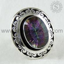 Flamboyant handmade silver ring 925 sterling mystic topaz gemstone silver jewelry jaipur wholesale supplier