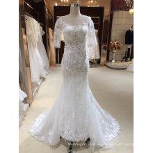 Sirena de manga corta vestido de novia con Appliques