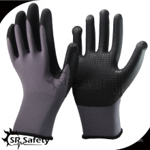 SRSAFETY 13 gauge knitted nylon liner coated nitrile on palm bule soft working gloves,cheap gloves