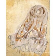 Bufanda de lino de moda con bordado de lentejuelas