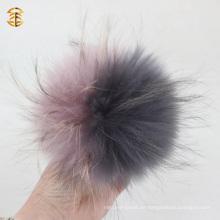 Großhandel Grau und lila Farbe Waschbär Pelz Ball Hot Verkauf Tier Pelz Zubehör Pom Pom