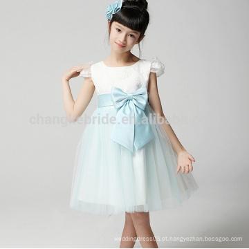 Venda Por Atacado joelho vestido de tul vestido flor com arco e faixa 2016