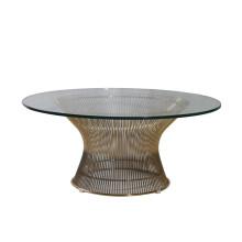 Mesa de centro de vidrio templado Warren Platner de acero inoxidable