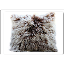 Purple Color Genuine Mongolian Lamb Fur Pillows