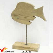 Tabela versão mão esculpida Vintage madeira madeira peixes