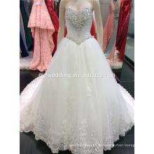 Luxus Schwere Hand gemacht Perlen Sweatheart lange Zug Ballkleid Elfenbein Hochzeitskleid Made in China A099