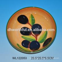 Plato de cerámica al por mayor con patrón de oliva