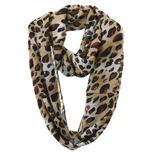 Леди мода леопарда печатных полиэстер шифон бесконечность шарф (YKY1112)