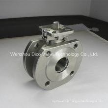 Válvula de esfera de aço inoxidável da bolacha da carcaça de investimento com plataforma nova