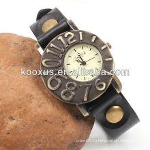 Античная черная кожаная наручные часы KSQN-07