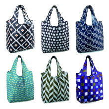 eco-friendly resusable food packaging bag sturdy lightweight fold waterproof nylon shopping grocery tote bag