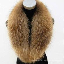 Raccoon naturel ou teintée Collier en fourrure en fourrure pour manteau d'hiver Parka Winter