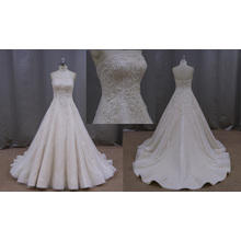 Ball Gown Bridal Dress SGS See Though Back Sheer Lace Wedding Dress