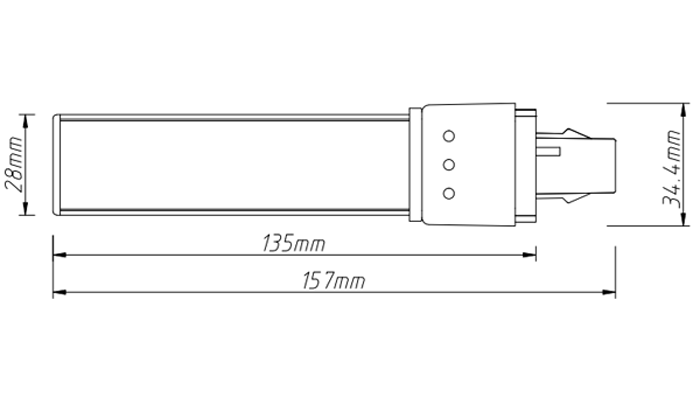 PL-21-8W LED PL tube light size