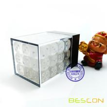 Bescon 12mm 6 Sided Dice 36 in Brick Box, 12mm Six Sided Die (36) Block of Dice, Translucent White with Pips