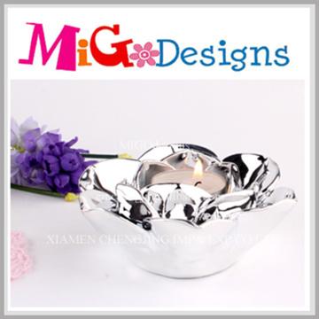 Élégant porte-bougie en céramique en forme de fleur