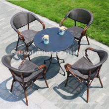 A maioria de venda quente de café mesa de ferro forjado e cadeiras de alumínio