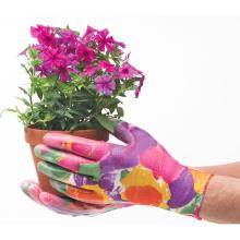 Flower Print Nitrile Garden Work Gloves/Nitrile Dipped Gardening Work Gloves