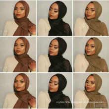Hot Selling plain color tassel wrinkle crimple women crinkled plain Shawls scarf viscose muslim cotton crinkle hijab