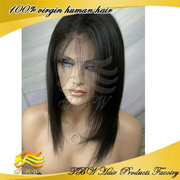 Оптовая индийские Remy человеческих волос короткий прямой парик бесклеевого кружева перед парики