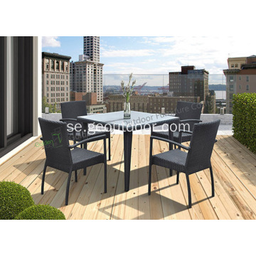 Kvadratisk 5-bitar Wicker Patio Dining Set