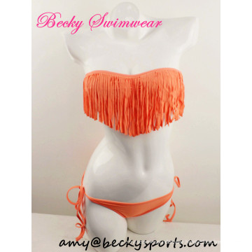 Sexy Lady′s Two Piece Swimwear Swimsuit Bandeau with Fringe