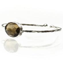 Brazalete de plata esterlina con brazalete de piedras preciosas