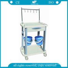 AG-IT001B3 ABS plastico IV carro de enfermería carro de vestuario médico de hospital