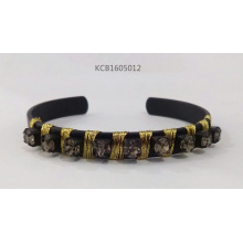 Open Black Bracelet with Thread and Glass