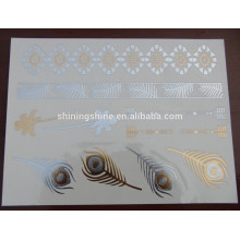 2016 new design fashion gold silver colorful body one time metal tattoo sticker paper