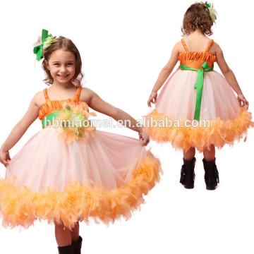 2017 nouvelle mode robe de performance de danse robe un pcs plume bébé fille tutu robe