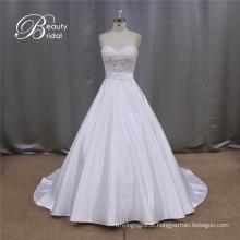 Vestido de noiva vestido cetim Beadings 2016