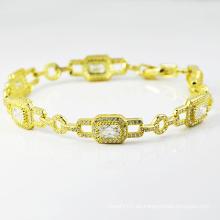 Nuevos diseños de joyas de diamantes 14k chapado en oro pulseras.