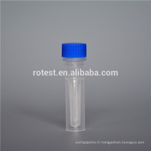 Tube en plastique de 0,5 ml Cryovial / Cryo avec fond autoportant