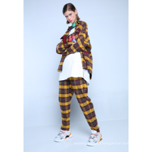 CHECK FLANNEL TROUSERS WITH DRAWSTRING