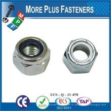 Fabriqué en Taiwan M6-1.0 DIN 985 Grade A2 en acier inoxydable Nylon Insert Lock Nut