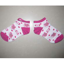 Kids Socks with 100% Cotton Girls Pink Socks Socks with Butterfly