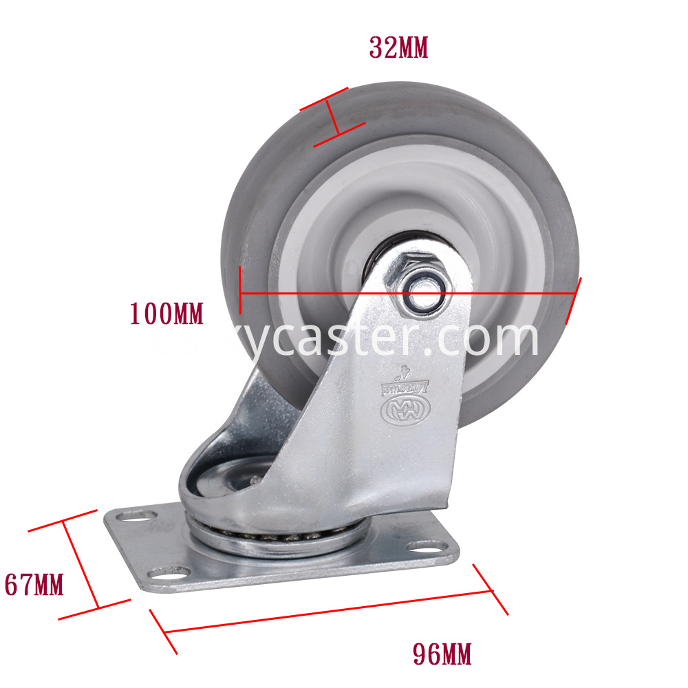 4 Inch Swivel Gray Tpr Caster