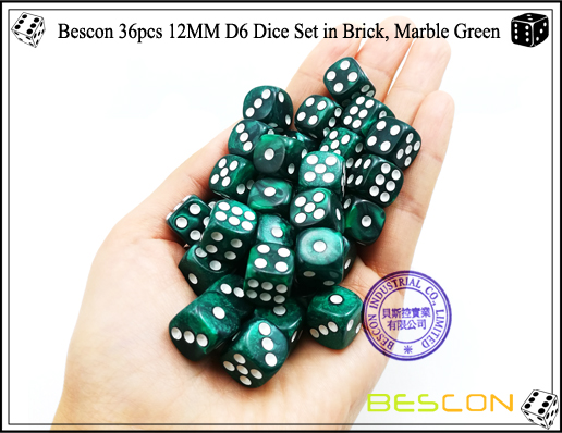 Bescon 36pcs 12MM D6 Dice Set in Brick, Marble Green-4
