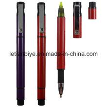 Пластиковая шариковая ручка с маркер конечная писатель ручка (ЛТ-D009)