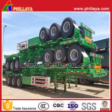 Eixo de 40 toneladas - 60 ton 3 40ft chassi contêiner Flatbed caminhão Semi reboque