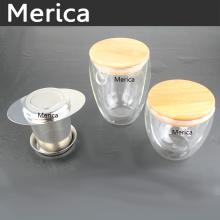 Copa transparente de vidrio de borosilicato de pared doble con tapa