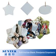 Pendente cerâmico / ornamento da forma oval vazia cerâmica da sublimação das decorações do Natal