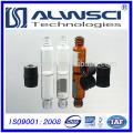 Amostras grátis 2 ml de frasco de vidro com gel de sílica para cromatografia em coluna